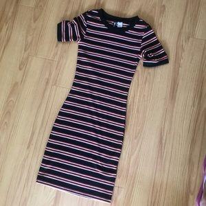 Midi striped fitted dress